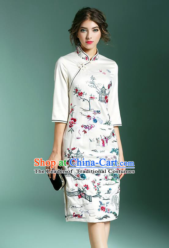 Top Grade Asian Chinese Costumes Classical Embroidery Stand Collar White Cheongsam, Traditional China National Embroidered Plated Buttons Chirpaur Qipao for Women