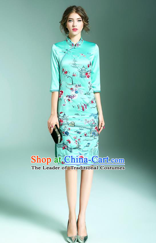 Top Grade Asian Chinese Costumes Classical Embroidery Stand Collar Green Cheongsam, Traditional China National Embroidered Plated Buttons Chirpaur Qipao for Women