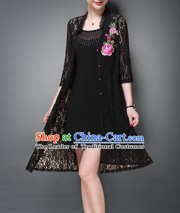 Top Grade Asian Chinese Costumes Classical Embroidery Lace Cardigan and Dress, Traditional China National Embroidered Clothing for Women