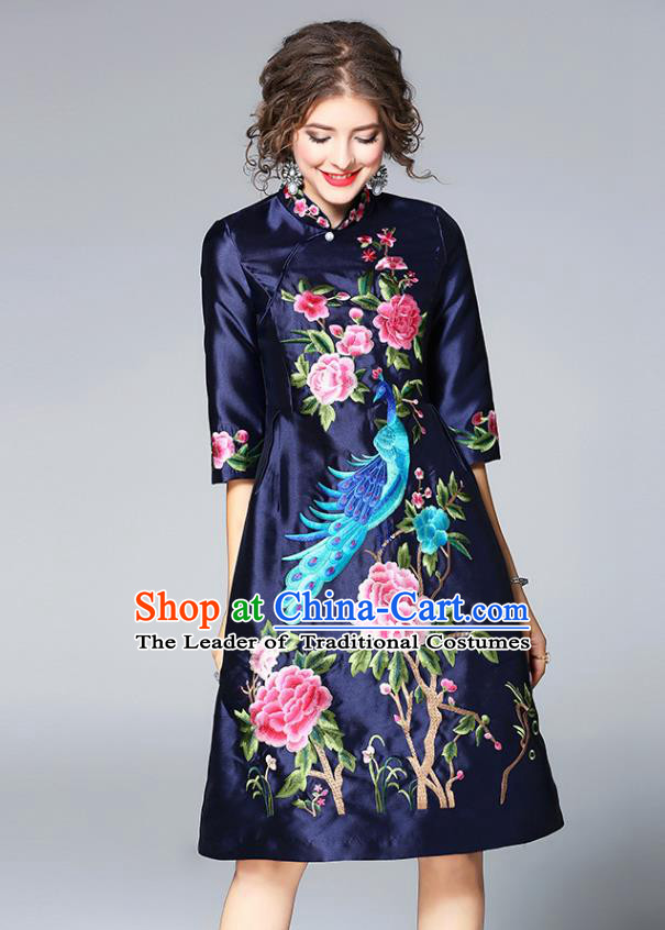 Top Grade Asian Chinese Costumes Classical Embroidery Black Satin Cheongsam, Traditional China National Embroidered Phoenix Chirpaur Clothing for Women