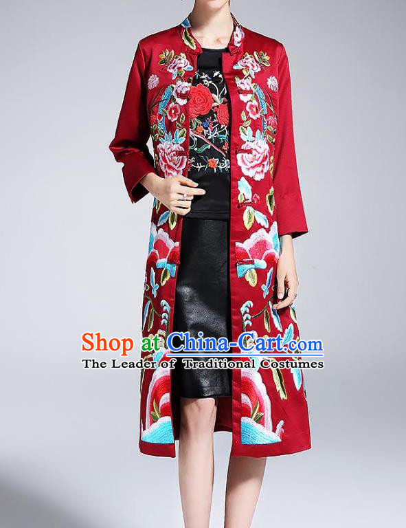 Top Grade Asian Chinese Costumes Classical Embroidery Red Satin Plated Buttons Cheongsam, Traditional China National Dust Coat Embroidered Peony Chirpaur Clothing for Women