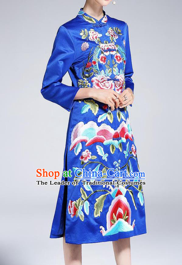 Top Grade Asian Chinese Costumes Classical Embroidery Blue Satin Plated Buttons Cheongsam, Traditional China National Dust Coat Embroidered Peony Chirpaur Clothing for Women