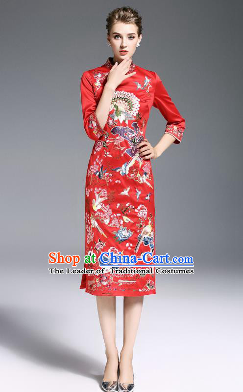 Top Grade Asian Chinese Costumes Classical Embroidery Red Plated Buttons Cheongsam, Traditional China National Slant Opening Embroidered Chirpaur Clothing for Women
