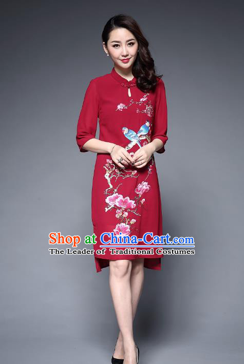 Top Grade Asian Chinese Costumes Classical Embroidery Birds Flowers Cheongsam, Traditional China National Chiffon Chirpaur Dress Red Qipao for Women