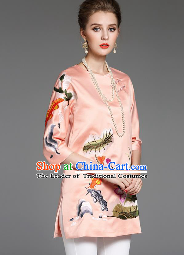 Top Grade Asian Chinese Costumes Classical Embroidery Upper Outer Garment, Traditional China National Middle Sleeve Embroidered Lotus Blouse for Women