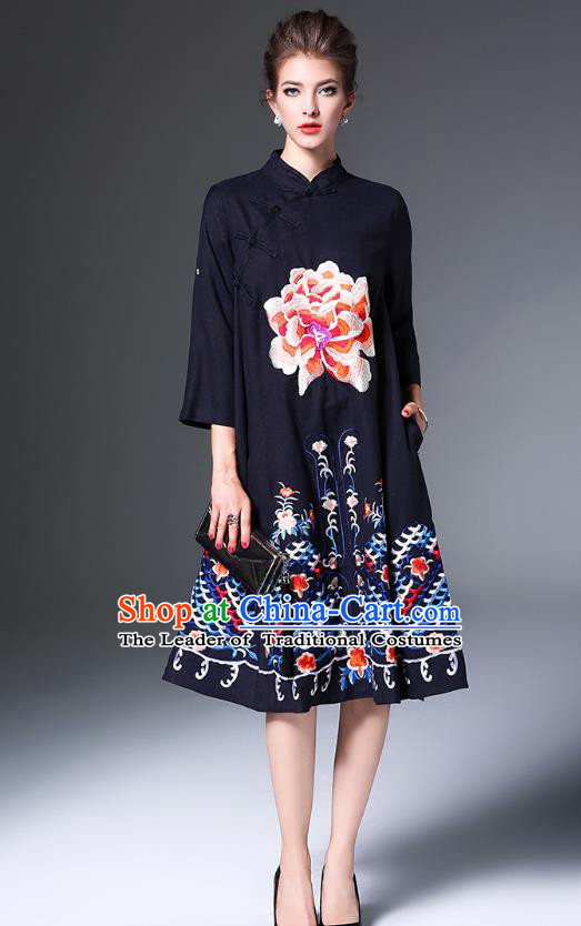 Top Grade Asian Chinese Costumes Classical Embroidery Peony Slant Opening Cheongsam, Traditional China National Navy Chirpaur Dress Qipao for Women