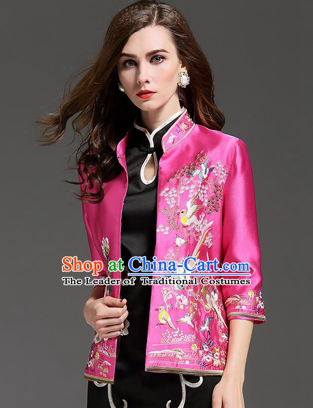 Traditional Top Grade Asian Chinese Costumes Classical Embroidery Pink Short Coat, China National Upper Outer Garment Embroidered Jacket for Women