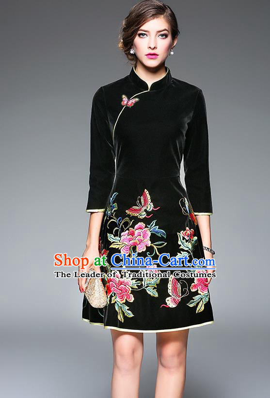 Top Grade Asian Chinese Costumes Classical Embroidery Butterfly Flowers Cheongsam, Traditional China National Black Chirpaur Dress Qipao for Women