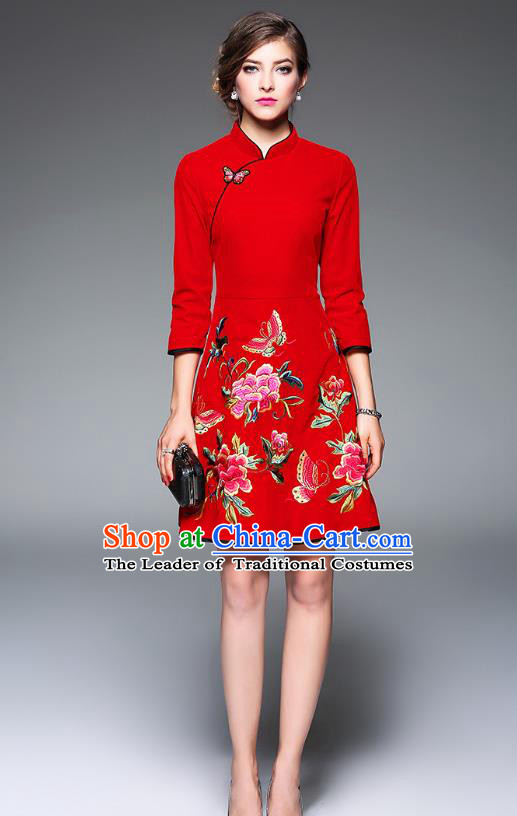 Top Grade Asian Chinese Costumes Classical Embroidery Butterfly Flowers Cheongsam, Traditional China National Red Chirpaur Dress Qipao for Women