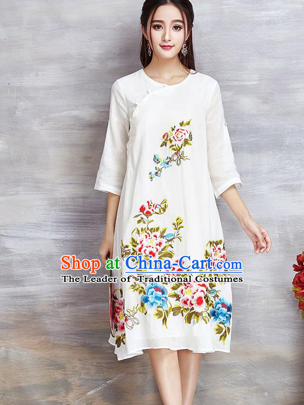 Top Grade Asian Chinese Linen Costumes Classical Embroidery Flowers Cheongsam, Traditional China National White Plated Buttons Chirpaur Dress Qipao for Women
