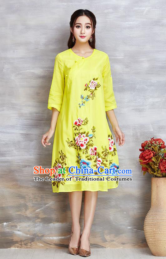 Top Grade Asian Chinese Linen Costumes Classical Embroidery Flowers Cheongsam, Traditional China National Yellow Plated Buttons Chirpaur Dress Qipao for Women
