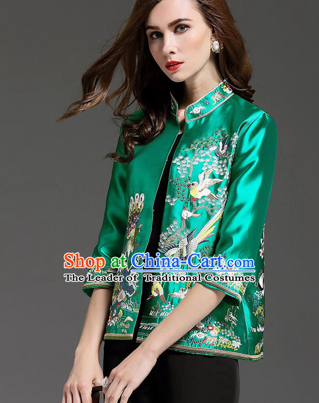 Traditional Top Grade Asian Chinese Costumes Classical Embroidery Green Short Coat, China National Upper Outer Garment Embroidered Jacket for Women