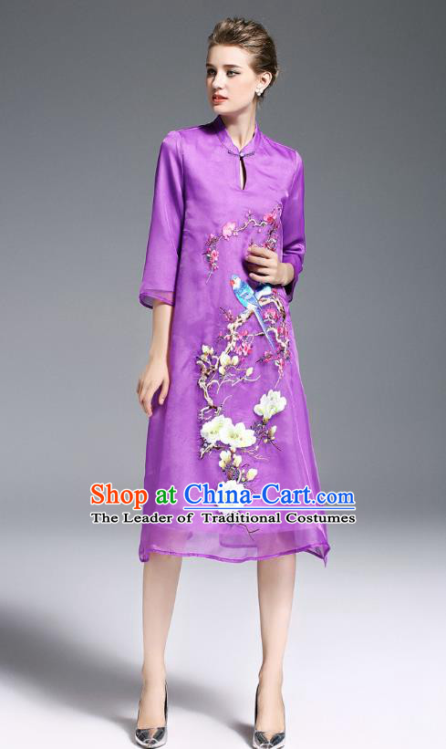 Top Grade Asian Chinese Costumes Classical Embroidery Cheongsam, Traditional China National Middle Sleeve Chirpaur Plated Buttons Purple Qipao for Women