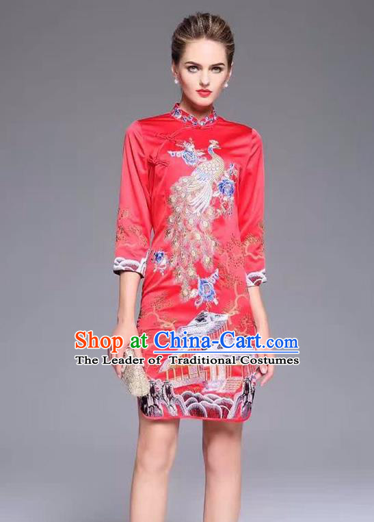Top Grade Asian Chinese Costumes Classical Embroidery Peacock Cheongsam, Traditional China National Middle Sleeve Chirpaur Plated Buttons Red Qipao for Women