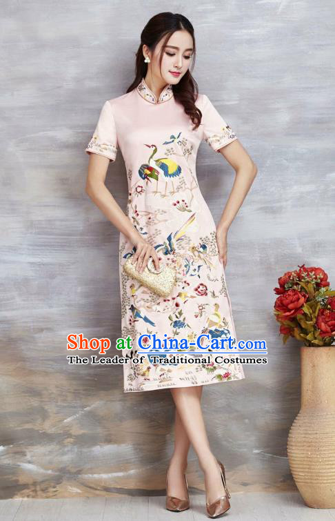Top Grade Asian Chinese Costumes Classical Embroidery Cranes Cheongsam, Traditional China National Pink Chirpaur Dress Satin Qipao for Women