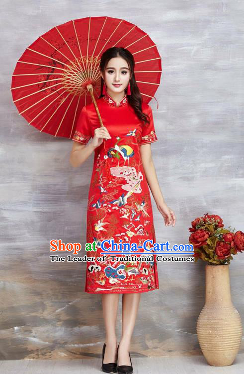 Top Grade Asian Chinese Costumes Classical Embroidery Cranes Cheongsam, Traditional China National Red Chirpaur Dress Satin Qipao for Women