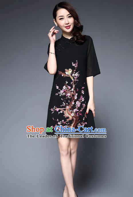 Top Grade Asian Chinese Costumes Classical Embroidery Plum Blossom Short Cheongsam, Traditional China National Black Chirpaur Dress Qipao for Women
