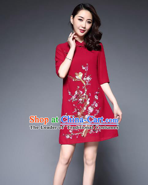 Top Grade Asian Chinese Costumes Classical Embroidery Plum Blossom Short Cheongsam, Traditional China National Red Chirpaur Dress Qipao for Women