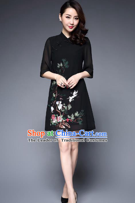 Top Grade Asian Chinese Costumes Classical Embroidery Crane Short Cheongsam, Traditional China National Slant Opening Black Chirpaur Dress Qipao for Women