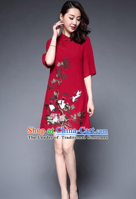 Top Grade Asian Chinese Costumes Classical Embroidery Crane Short Cheongsam, Traditional China National Slant Opening Red Chirpaur Dress Qipao for Women