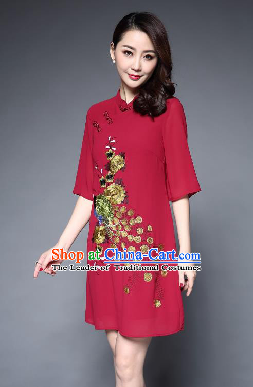 Top Grade Asian Chinese Costumes Classical Embroidery Peacock Short Red Cheongsam, Traditional China National Plated Buttons Chirpaur Dress Qipao for Women