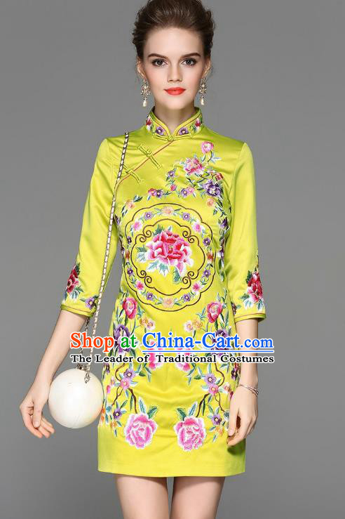 Top Grade Asian Chinese Costumes Classical Embroidery Peony Silk Yellow Cheongsam, Traditional China National Plated Buttons Chirpaur Dress Qipao for Women