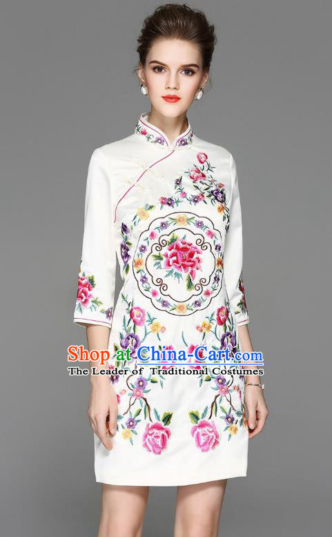 Top Grade Asian Chinese Costumes Classical Embroidery Peony Silk White Cheongsam, Traditional China National Plated Buttons Chirpaur Dress Qipao for Women
