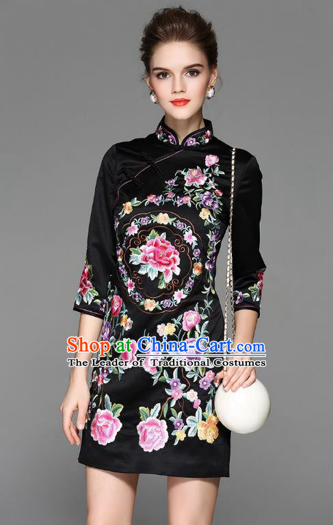 Top Grade Asian Chinese Costumes Classical Embroidery Peony Silk Black Cheongsam, Traditional China National Plated Buttons Chirpaur Dress Qipao for Women