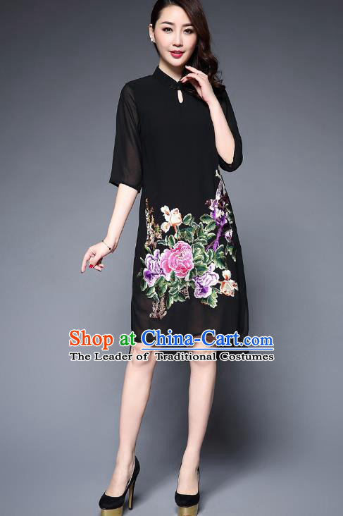 Top Grade Asian Chinese Costumes Classical Embroidery Peony Cheongsam, Traditional China National Plated Buttons Black Chirpaur Dress Qipao for Women