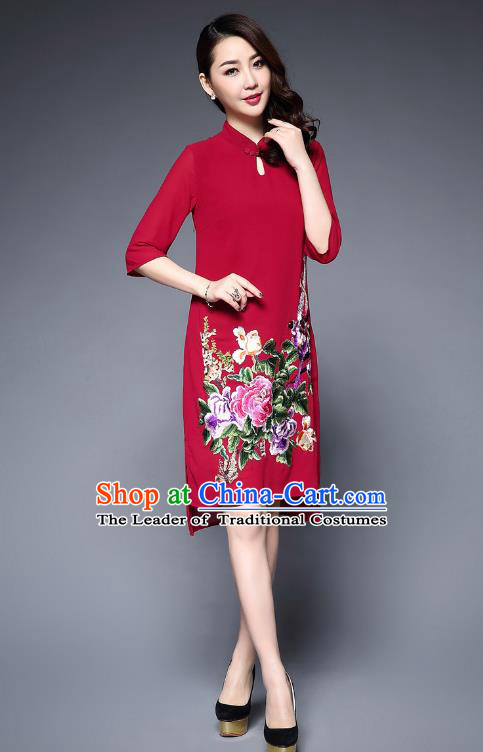Top Grade Asian Chinese Costumes Classical Embroidery Peony Cheongsam, Traditional China National Plated Buttons Red Chirpaur Dress Qipao for Women