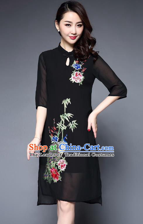 Asian Chinese Oriental Costumes Classical Embroidery Peacock Black Cheongsam, Traditional China National Tang Suit Plated Buttons Chirpaur Dress Qipao for Women