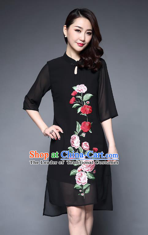 Asian Chinese Oriental Costumes Classical Embroidery Peony Black Chiffon Cheongsam, Traditional China National Tang Suit Plated Buttons Chirpaur Dress Qipao for Women