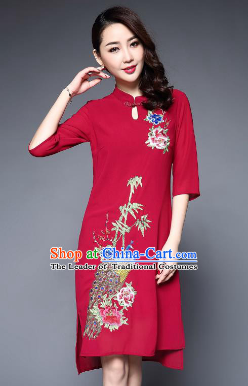 Asian Chinese Oriental Costumes Classical Embroidery Peacock Red Cheongsam, Traditional China National Tang Suit Plated Buttons Chirpaur Dress Qipao for Women