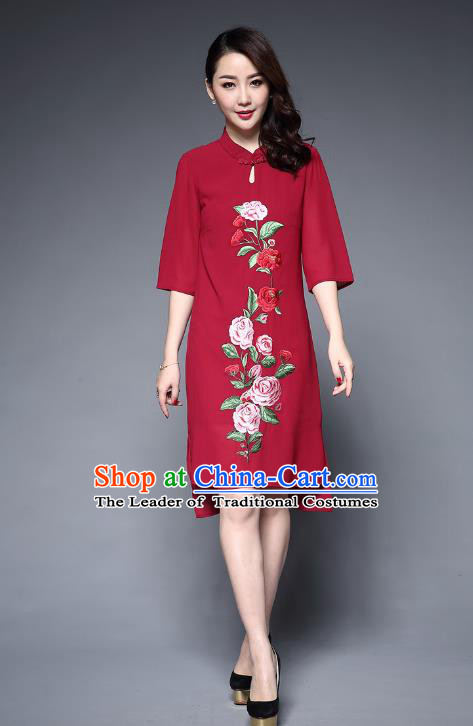 Asian Chinese Oriental Costumes Classical Embroidery Peony Red Chiffon Cheongsam, Traditional China National Tang Suit Plated Buttons Chirpaur Dress Qipao for Women