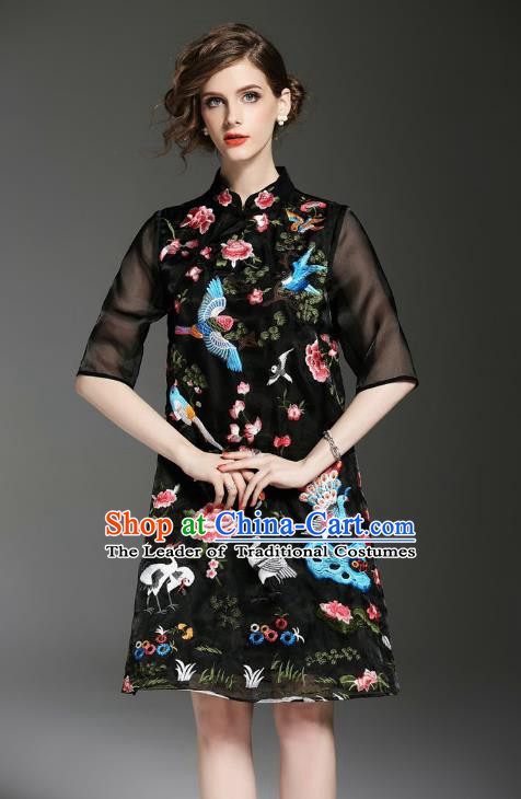 Asian Chinese Oriental Costumes Classical Embroidery Black Cheongsam, Traditional China National Tang Suit Qipao Dress for Women