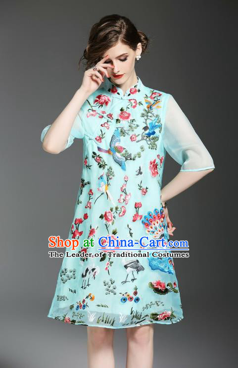 Asian Chinese Oriental Costumes Classical Embroidery Light Blue Cheongsam, Traditional China National Tang Suit Qipao Dress for Women