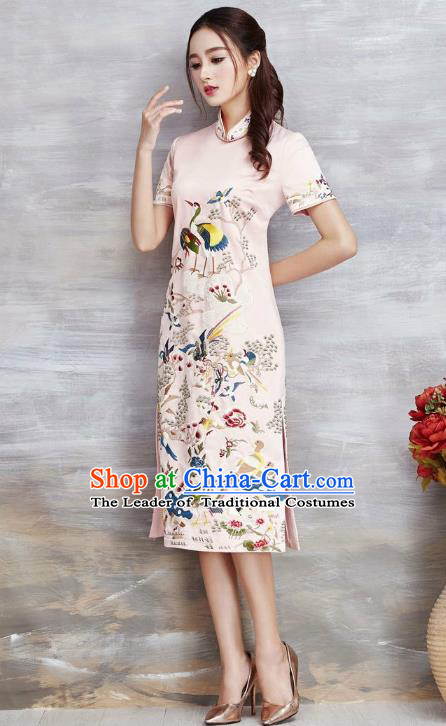 Asian Chinese Oriental Costumes Classical Embroidery Crane Pink Cheongsam, Traditional China National Tang Suit Qipao Dress for Women