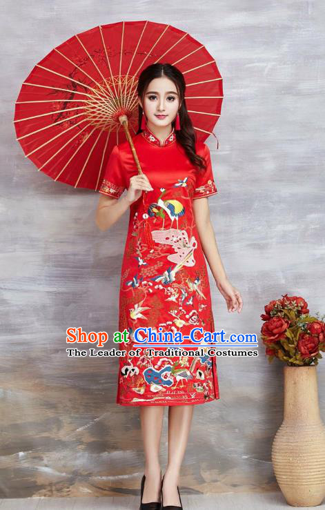 Asian Chinese Oriental Costumes Classical Embroidery Crane Red Cheongsam, Traditional China National Tang Suit Qipao Dress for Women