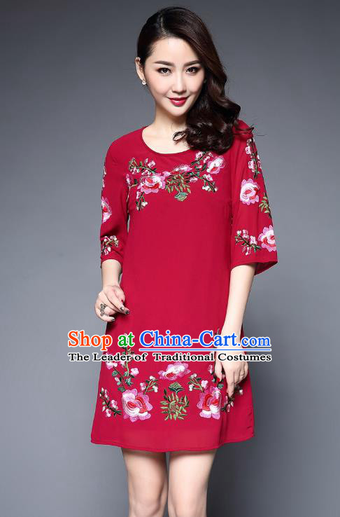 Asian Chinese Oriental Costumes Classical Embroidery Peony Chiffon Dress, Traditional China National Tang Suit Red Dress Qipao for Women