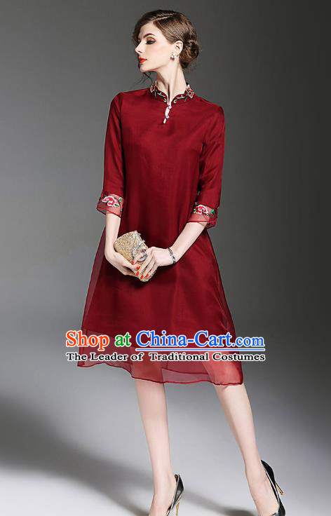 Asian Chinese Oriental Costumes Classical Embroidery Organza Wine Red Cheongsam, Traditional China National Tang Suit Qipao Dress for Women