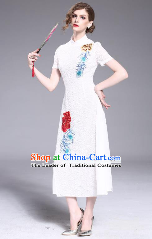 Asian Chinese Oriental Costumes Classical Embroidery White Lace Cheongsam, Traditional China National Tang Suit Stand Collar Qipao Dress for Women
