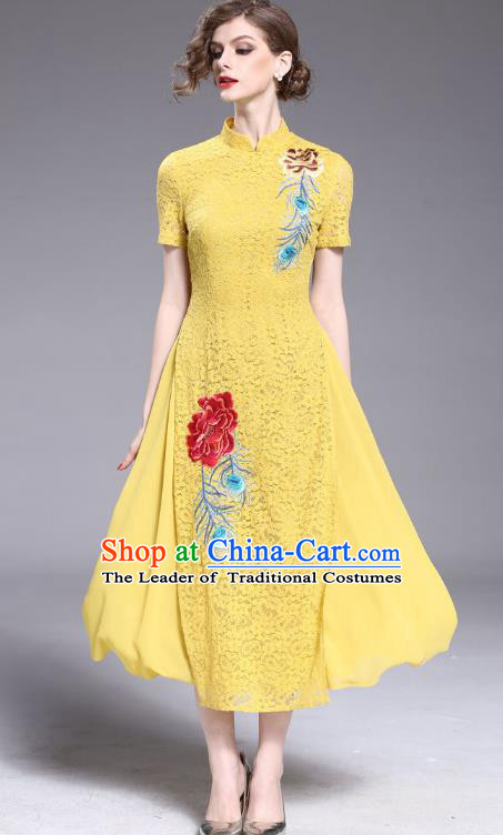Asian Chinese Oriental Costumes Classical Embroidery Yellow Lace Cheongsam, Traditional China National Tang Suit Stand Collar Qipao Dress for Women
