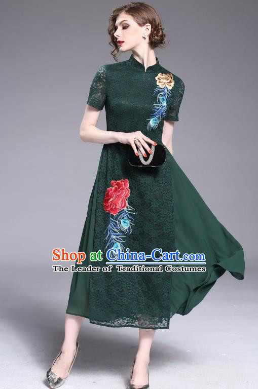 Asian Chinese Oriental Costumes Classical Embroidery Green Lace Cheongsam, Traditional China National Tang Suit Stand Collar Qipao Dress for Women