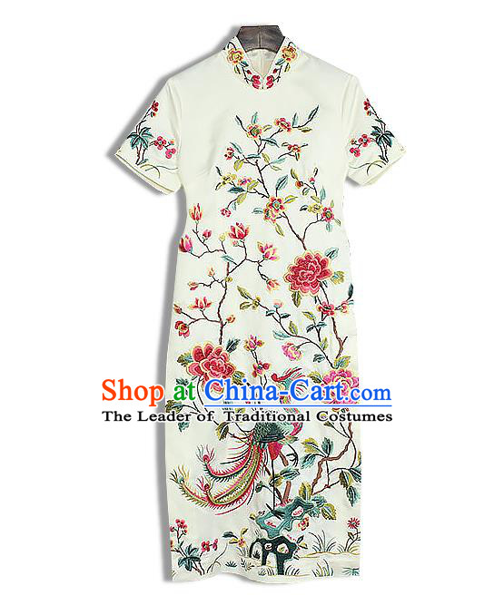 Asian Chinese Oriental Costumes Classical Embroidery Phoenix Peony Cheongsam, Traditional China National Tang Suit Stand Collar White Qipao Dress for Women