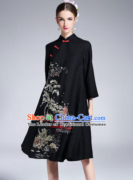 Asian Chinese Oriental Black Cheongsam Costumes, Traditional China National Embroidery Chirpaur Tang Suit Dress Qipao for Women