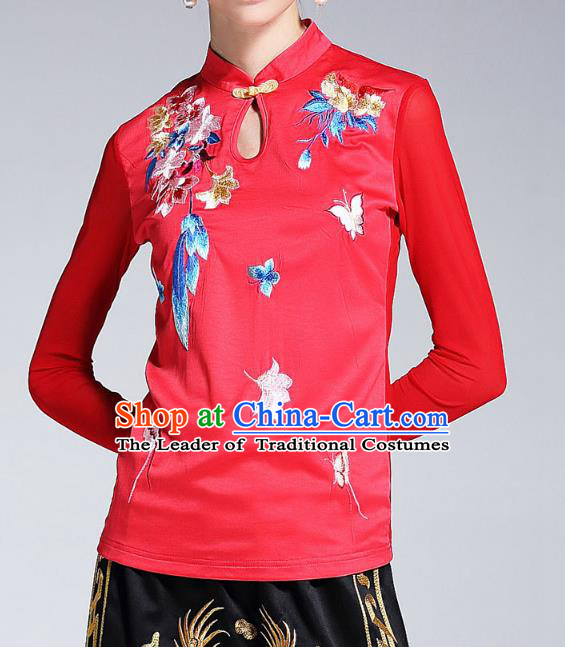 Asian Chinese Oriental Red Cheongsam Blouse Costumes, Traditional China National Embroidery Chirpaur Upper Outer Garment for Women