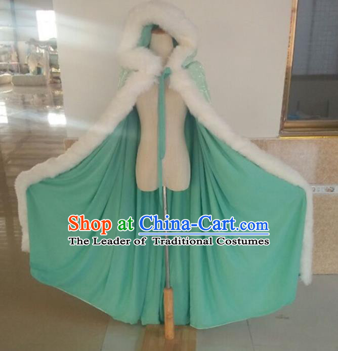 Traditional Asian Oriental Swordswoman Costumes Green Cloak, China Ming Dynasty Princess Hanfu Fairy Embroidery Mantle for Women
