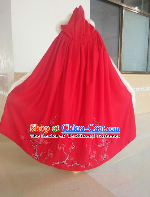Traditional Asian Oriental Swordswoman Costumes Red Cloak, China Ming Dynasty Princess Hanfu Fairy Embroidery Mantle for Women