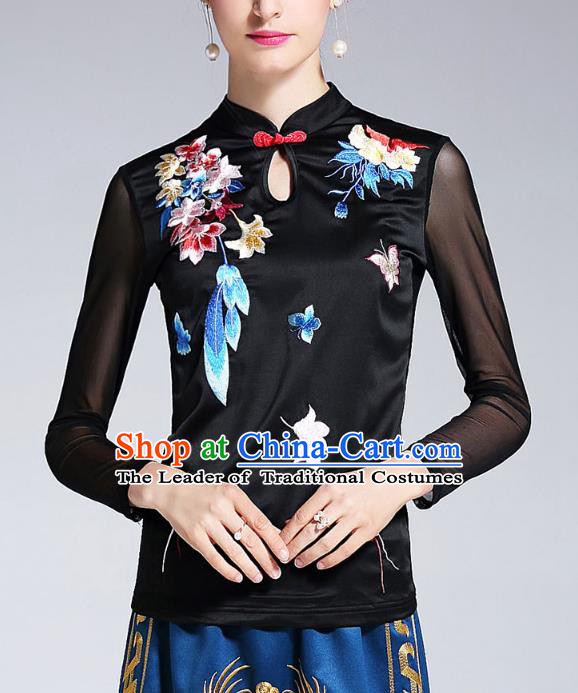 Asian Chinese Oriental Costumes Black Cheongsam Blouse, Traditional China National Embroidery Chirpaur Upper Outer Garment for Women
