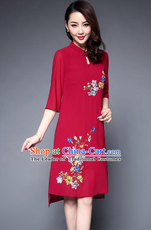 Asian Chinese Oriental Costumes Classical Embroidery Flowers Chiffon Dress, Traditional China National Tang Suit Red Cheongsam Qipao for Women
